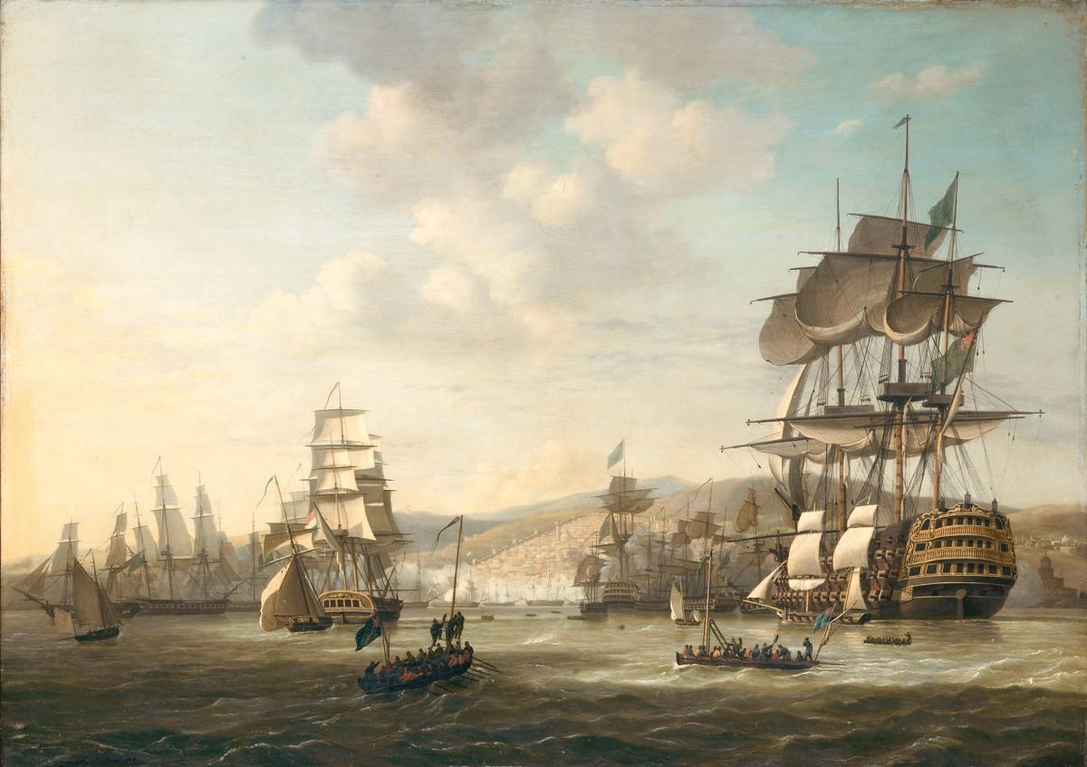 Painting of a fleet of ships in the Bay of Algiers