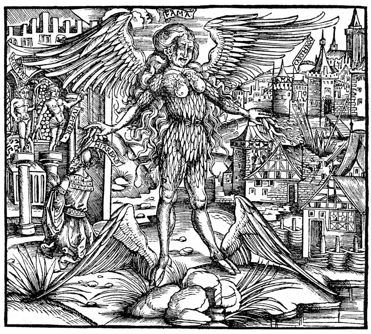 Illustration of Rumor, or Fama, a winged female monster who appears in the Aeneid