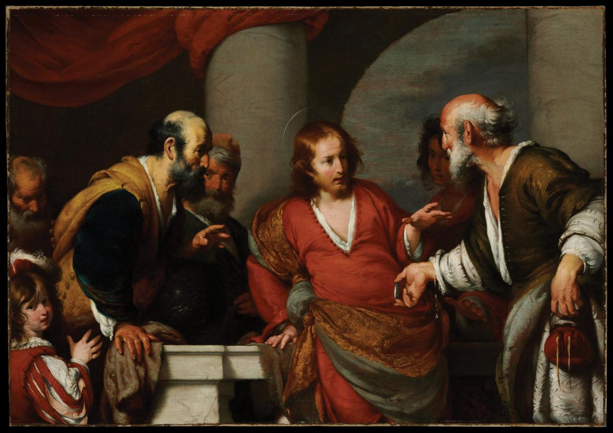 The Tribute Money by Bernardo Strozzi, which depicts Jesus instructing two men on paying what is due to Caesar to Caesar, and giving to God what is due to God