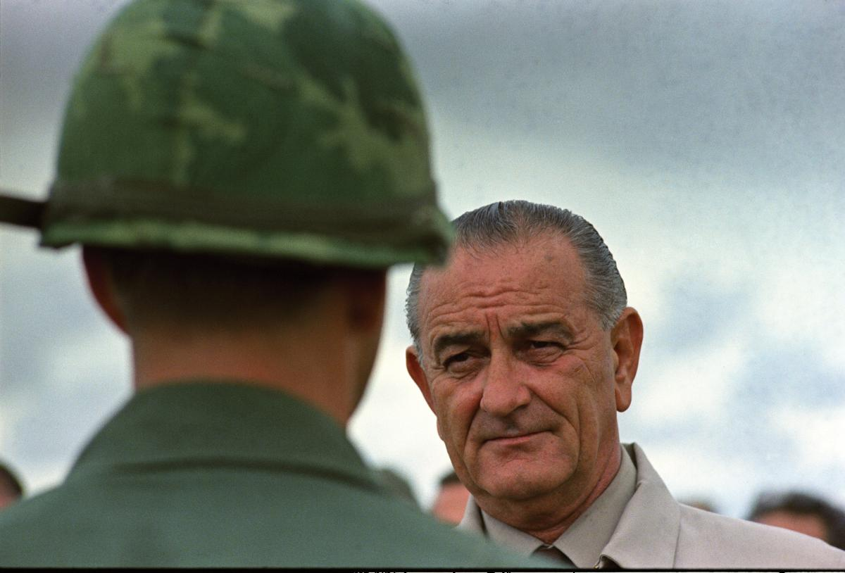 President Lyndon B Johnson and a soldier in Vietnam, 1966