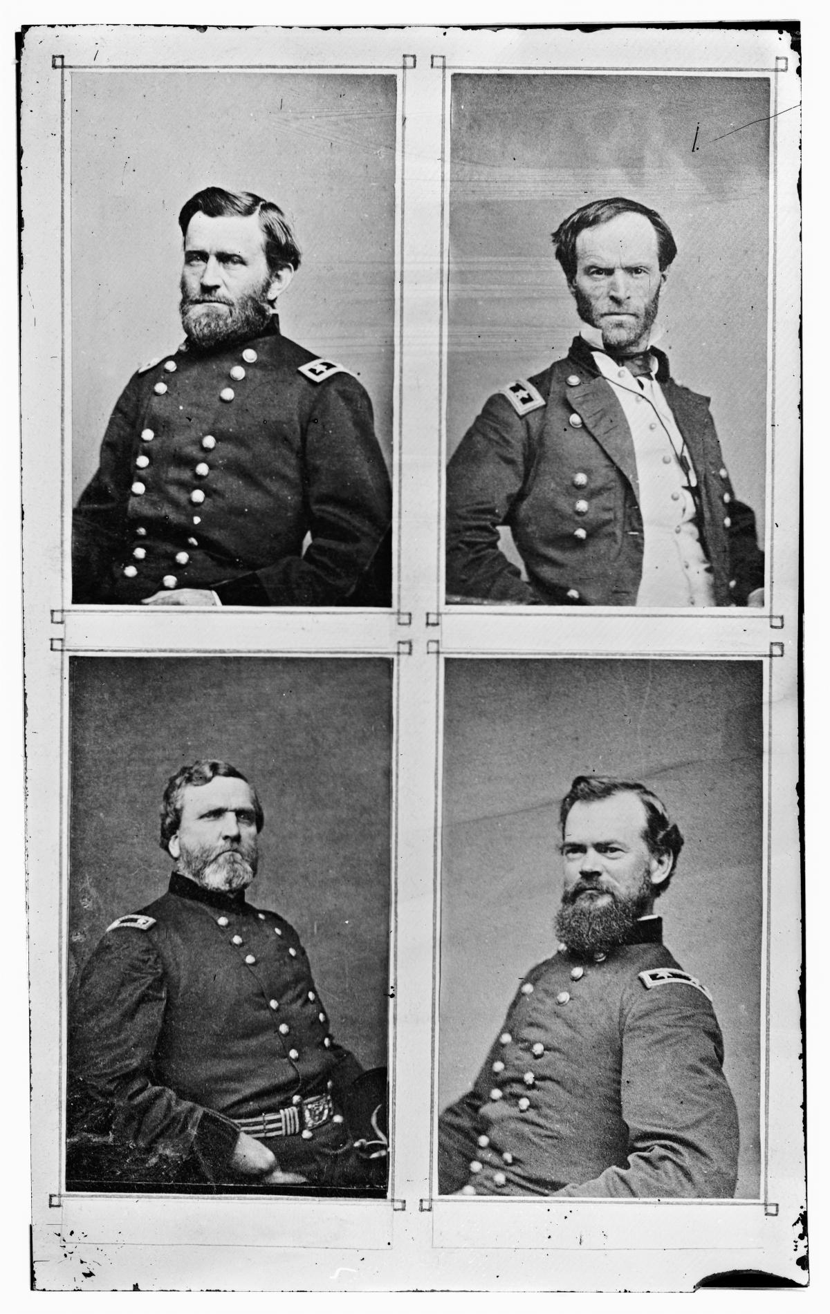 Union generals photographed by Mathew Brady: (clockwise from top left) Ulysses S. Grant, William T. Sherman, James B. McPherson, and George H. Thomas