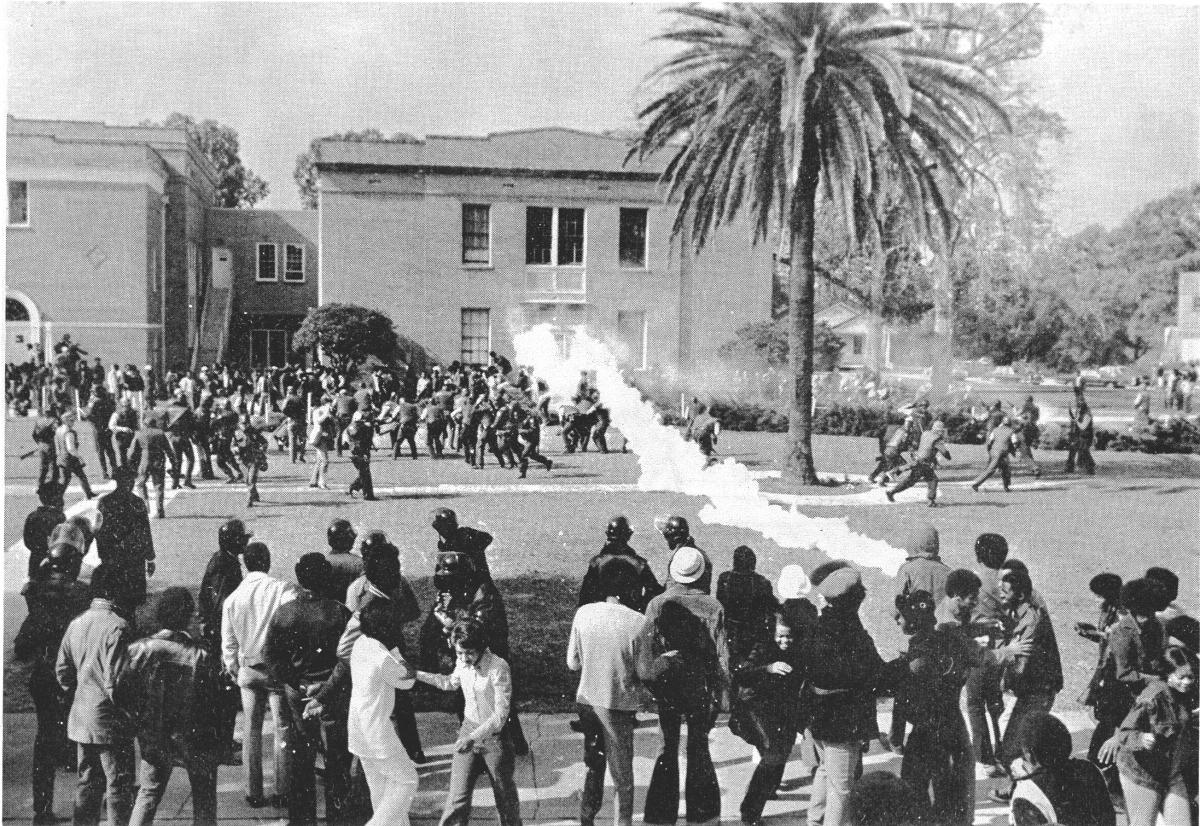 Gas canisters are launched at students on the campus of Southern University, November 16, 1972