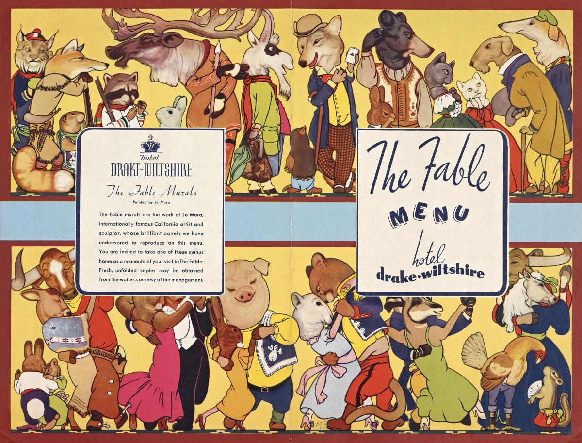 Menu for The Fable, a restaurant at the Hotel Drake-Wiltshire in San Francisco.