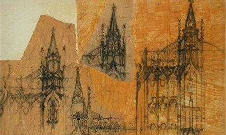Drawing of the parts of a gothic church.