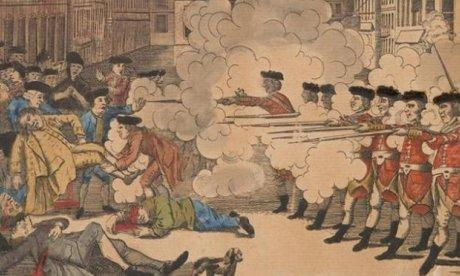 Color drawing of British troops firing on an American mob in the 18th century.