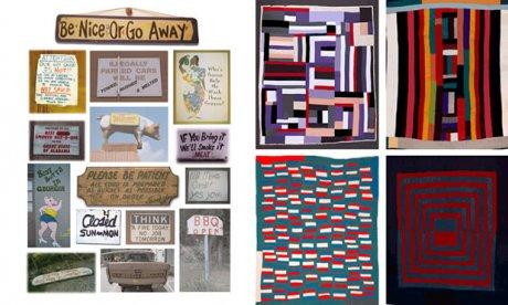 A colorful collection of quilts and signposts