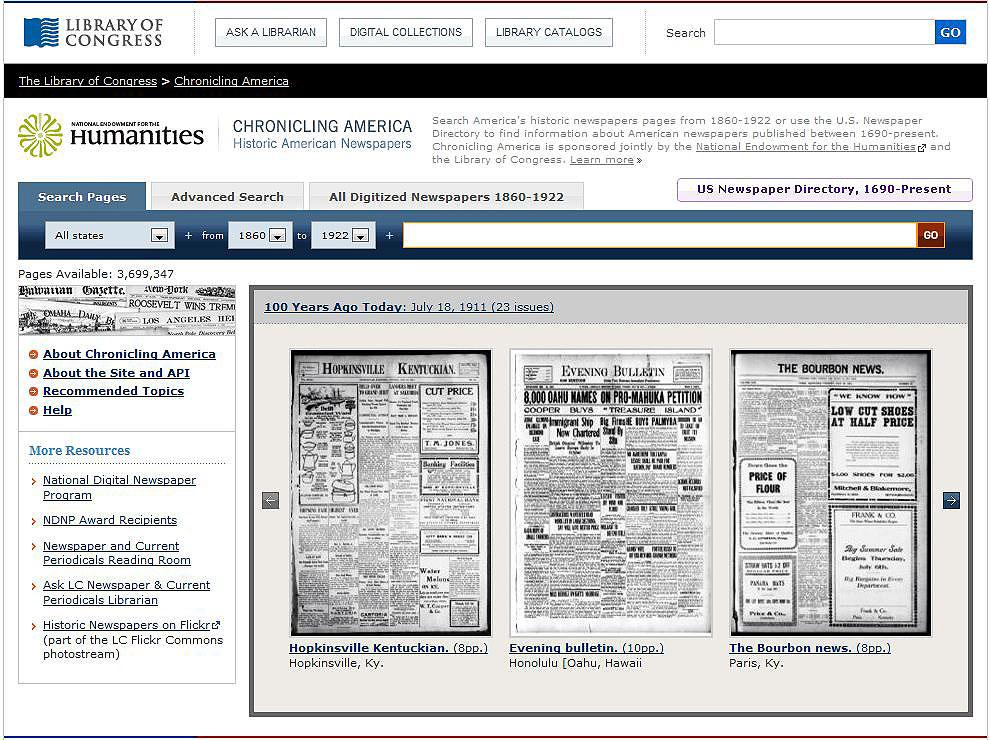 screen shot of NEH-funded Chronicling America database