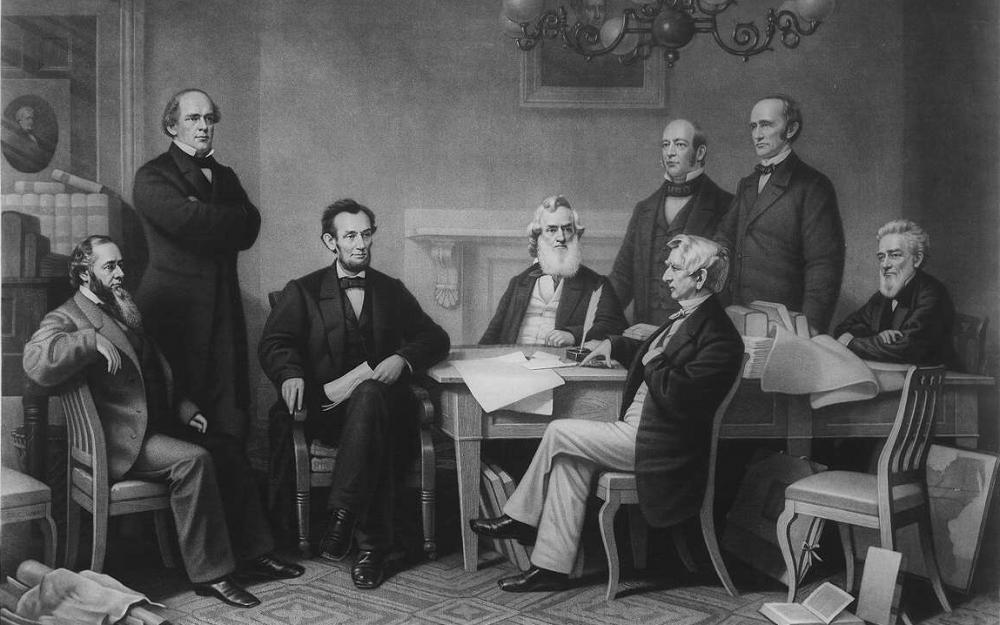 nineteeth-century drawing of first reading of the Emancipation Proclamation