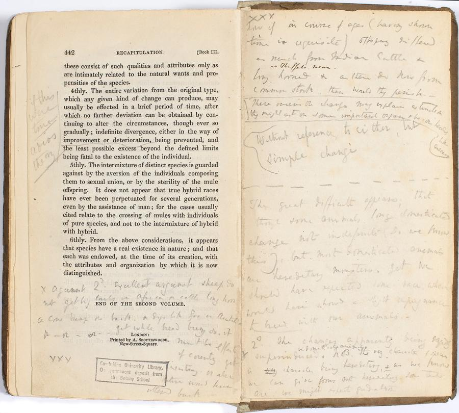 Charles Darwin's annotated copy of Charles Lyell's Principles of Geology