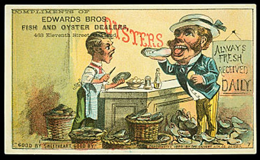 advertising card for Edwards Bros. oysters