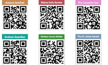 A screenshot of QR codes linked to various digitized newspapers.