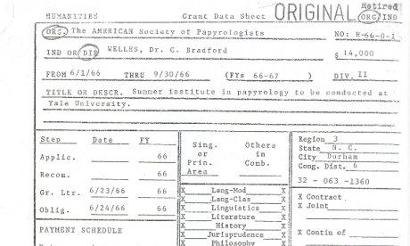 A black and white form which was used to apply for the first NEH grant in 1966.