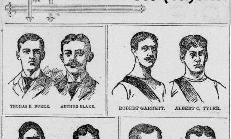 Black and white sketched portraits of America's first Olympians at the 1896 Athens Games.