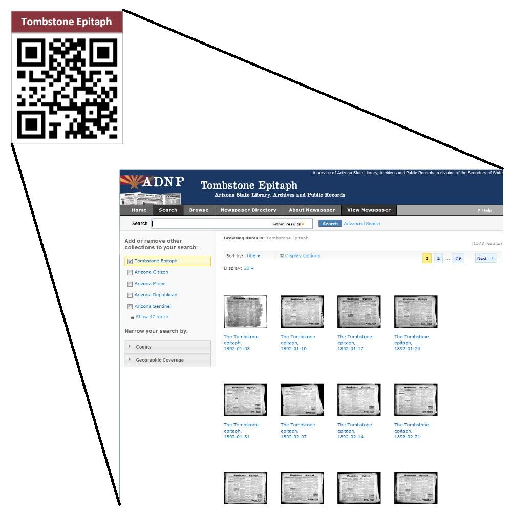 Screenshot of the Arizona Digital Newspaper Project and how it is interfaced with QR codes.