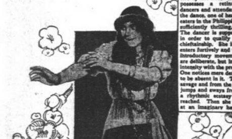 Black and white newspaper article showing a woman dancing the hula.