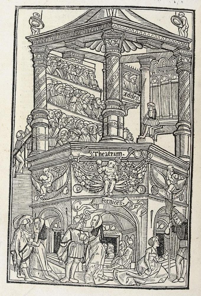 Fifteenth-century woodcut illustration of a theatre and audience.