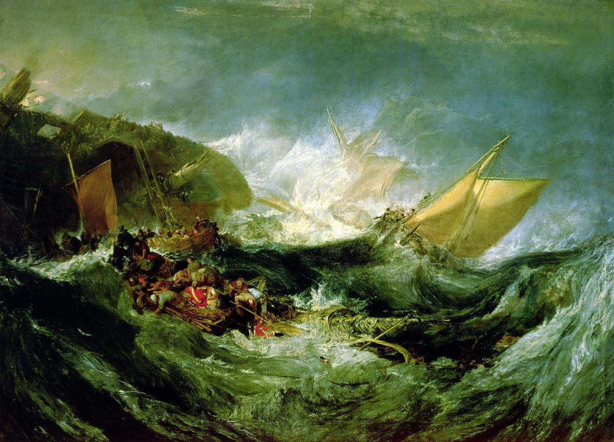 oil painting of rough waves, men on small lifeboats and rafts