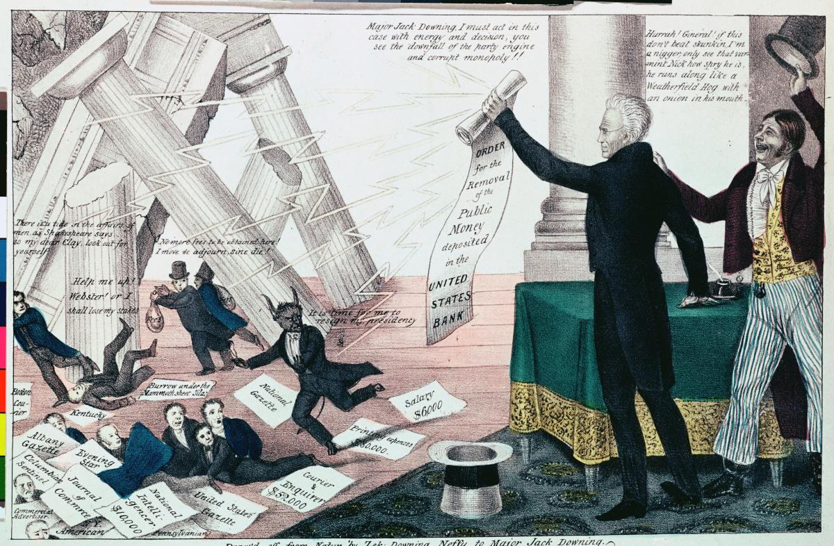 Political cartoon of Andrew Jackson, on a stage, waving a scroll of paper at his opponents, while Greek-style columns come tumbling down around them