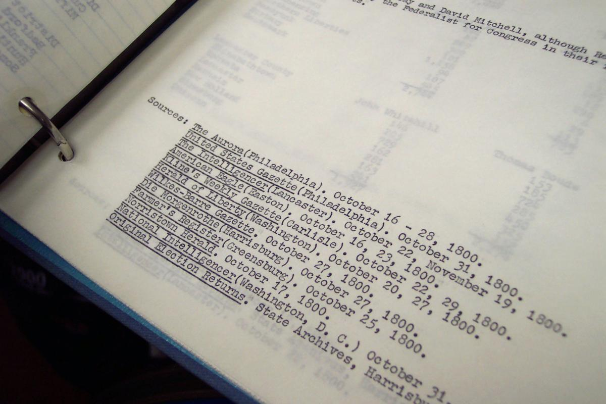 Close up view of a typed list of sources, with organization names underlined by hand