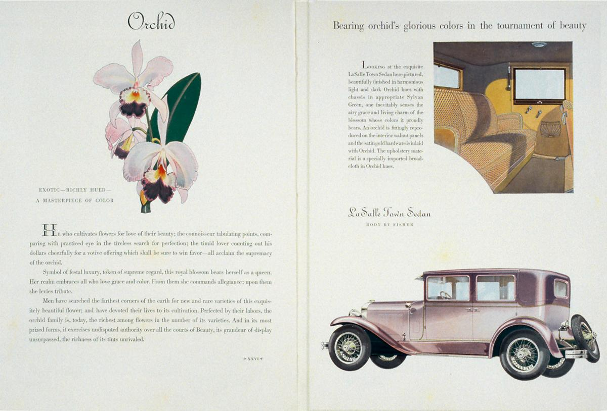 A two page spread featuring illustrations of an orchid LaSalle and its leather interior