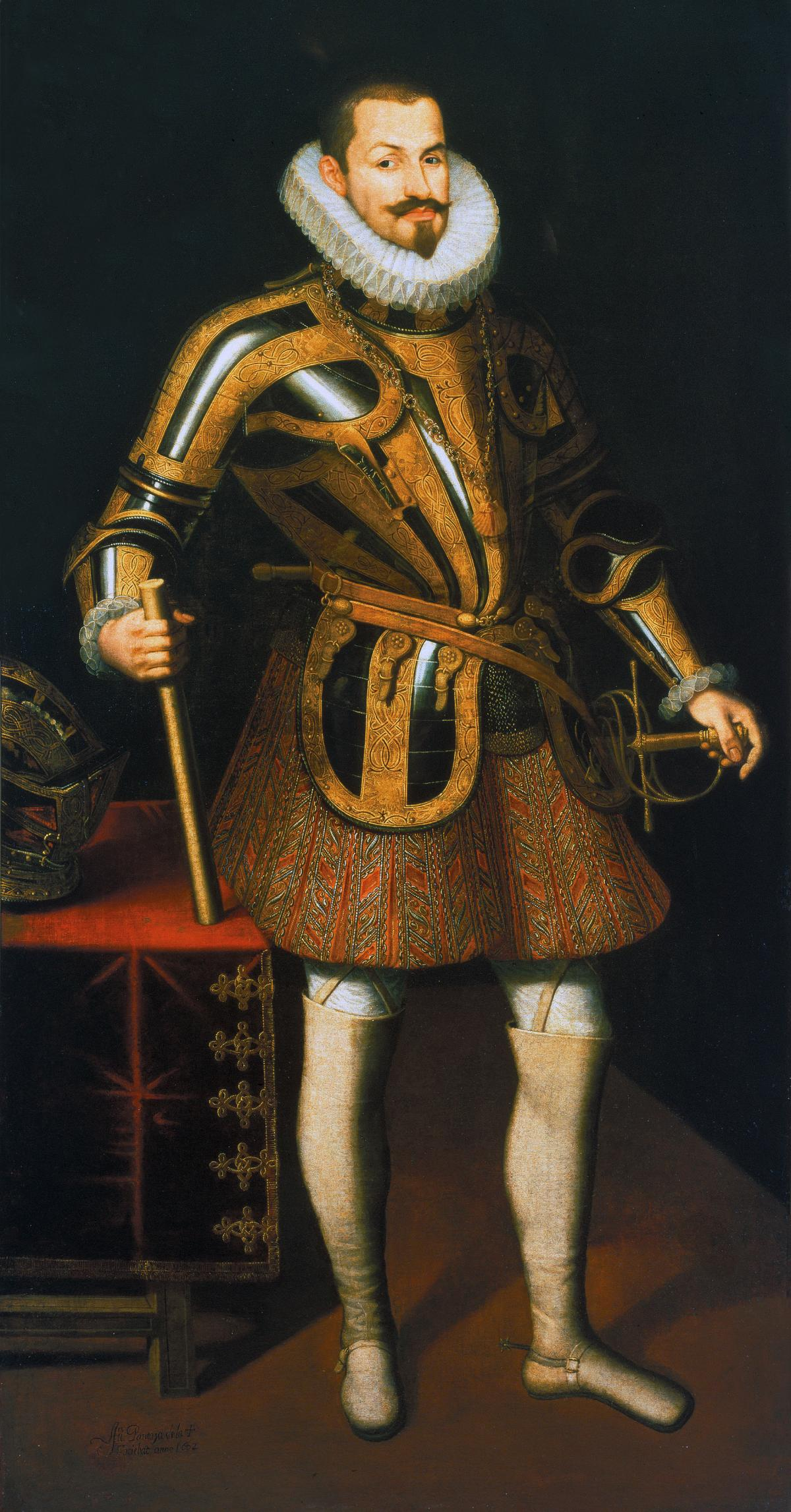 The Duke of Lerma, wearing a ruffled collar and armor with embroidered pantaloons, holding a map in one hand and sword in the other