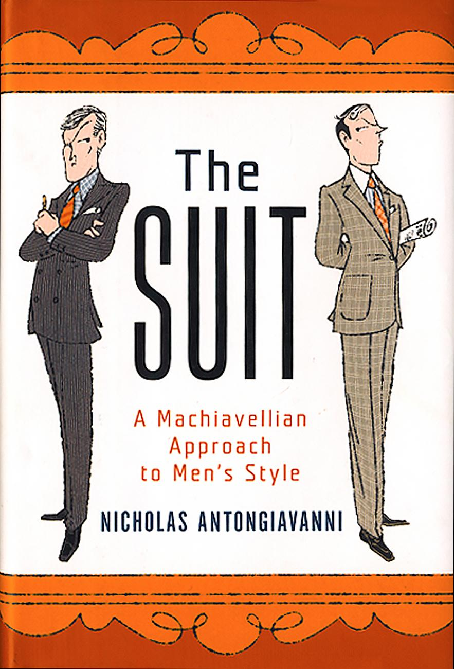 "Cover of ""The Suit"" which shows two men, one in a black suit and the other in a tan suit, flanking the title"