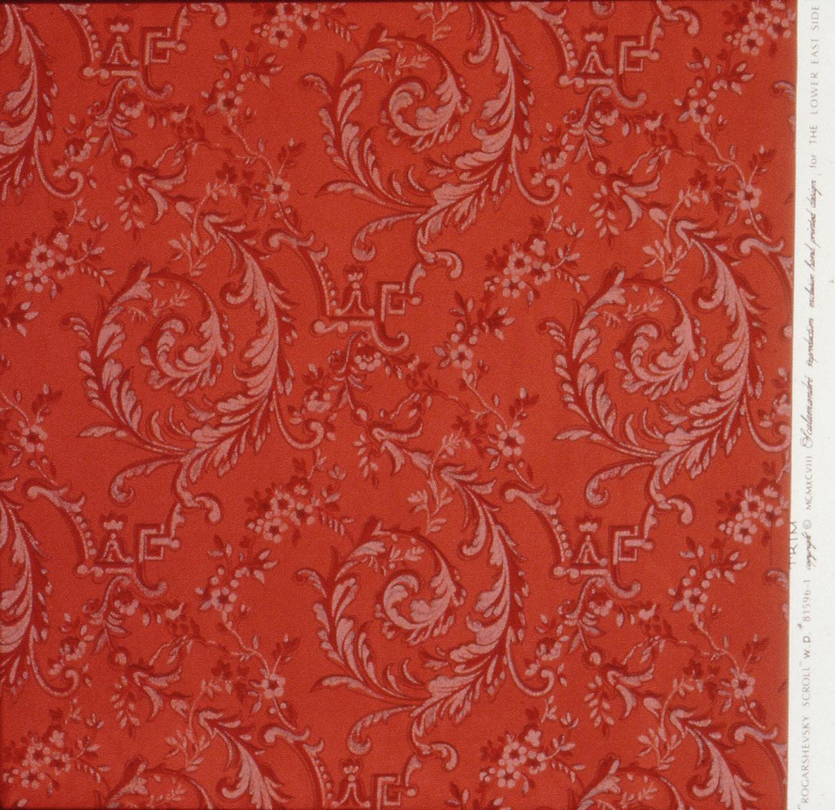 photograph of orange antique wallpaper