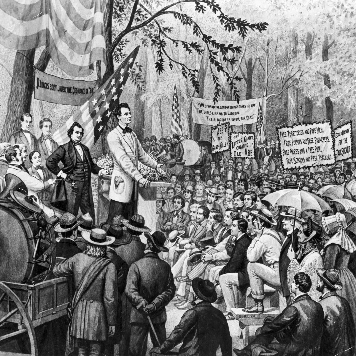 black and white illustration of man talking at a podium, surrounded by crowd of people