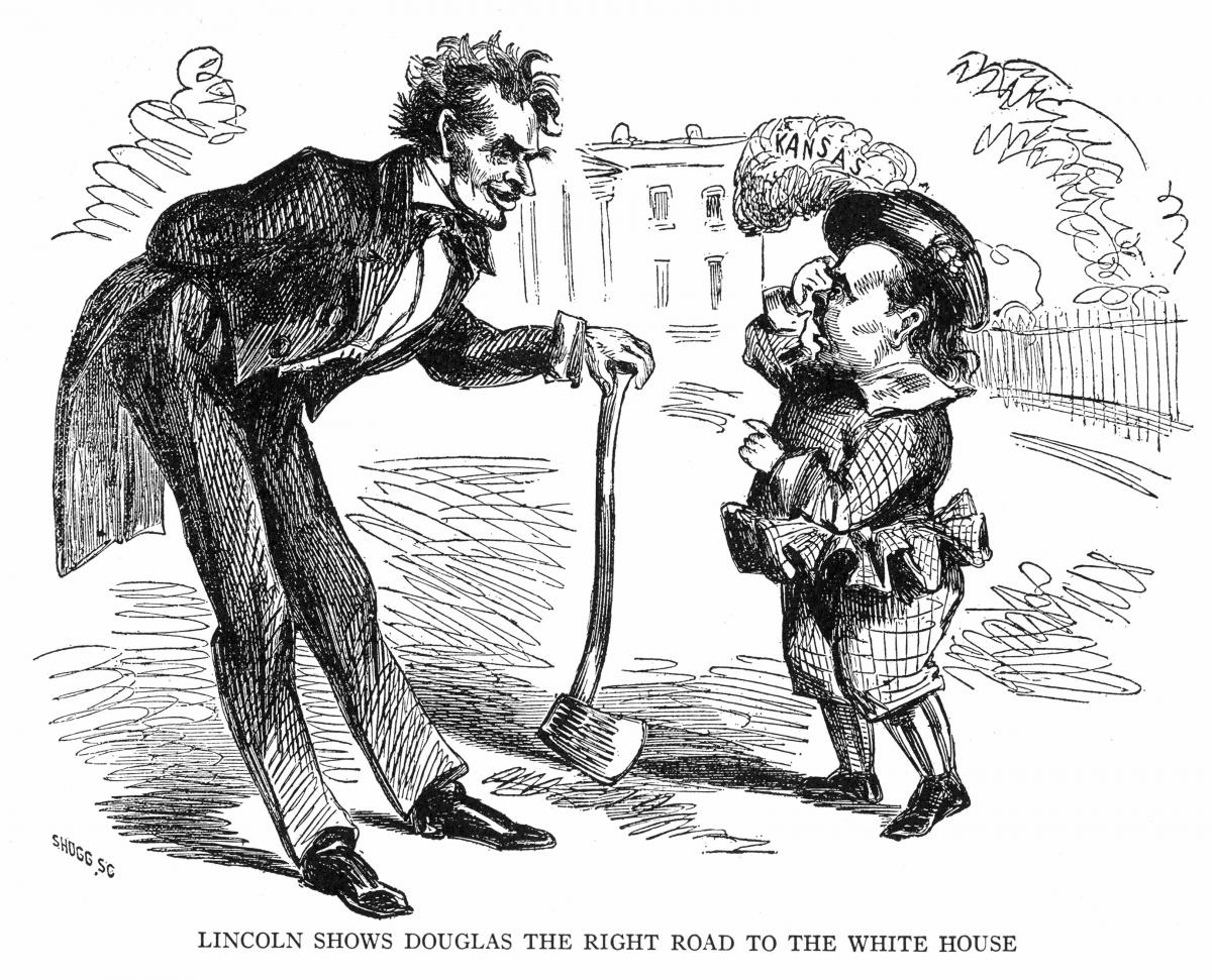 black and white cartoon drawing of a tall man leaning down to speak to a shorter man with a feathered hat