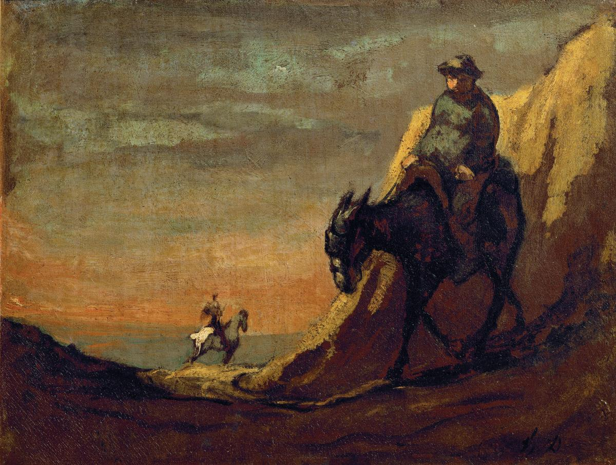 Painting of a man on a horse, small cliff behind him, another man on horse