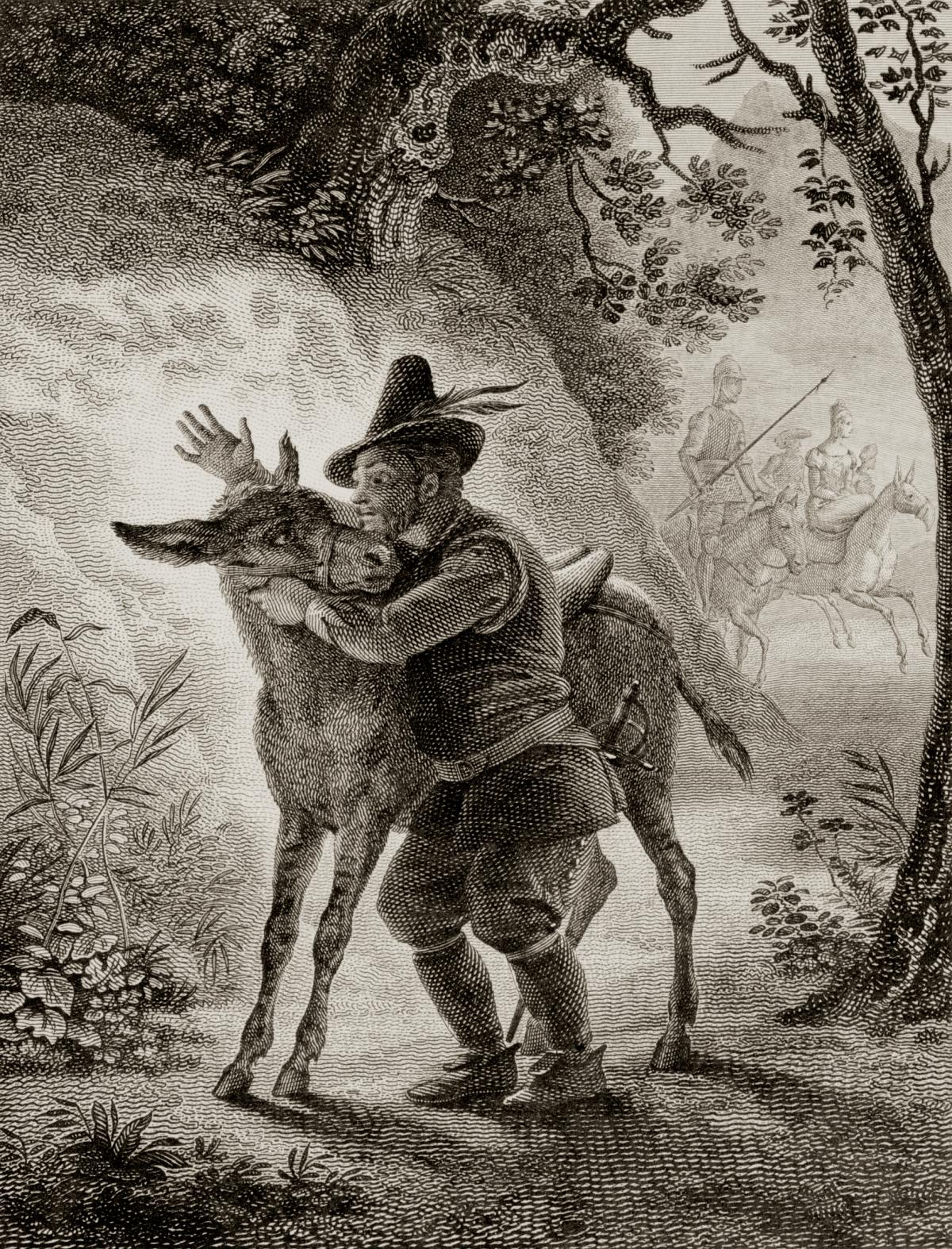 Engraving of a man embracing a donkey