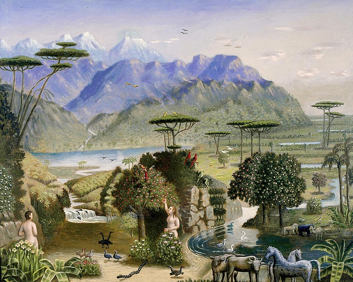 Painting of a garden, mountains in background, nude man and woman