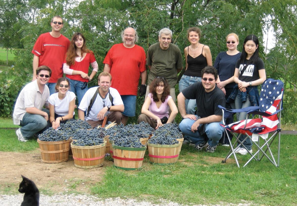 Group of people standing behind baskets full of grapes