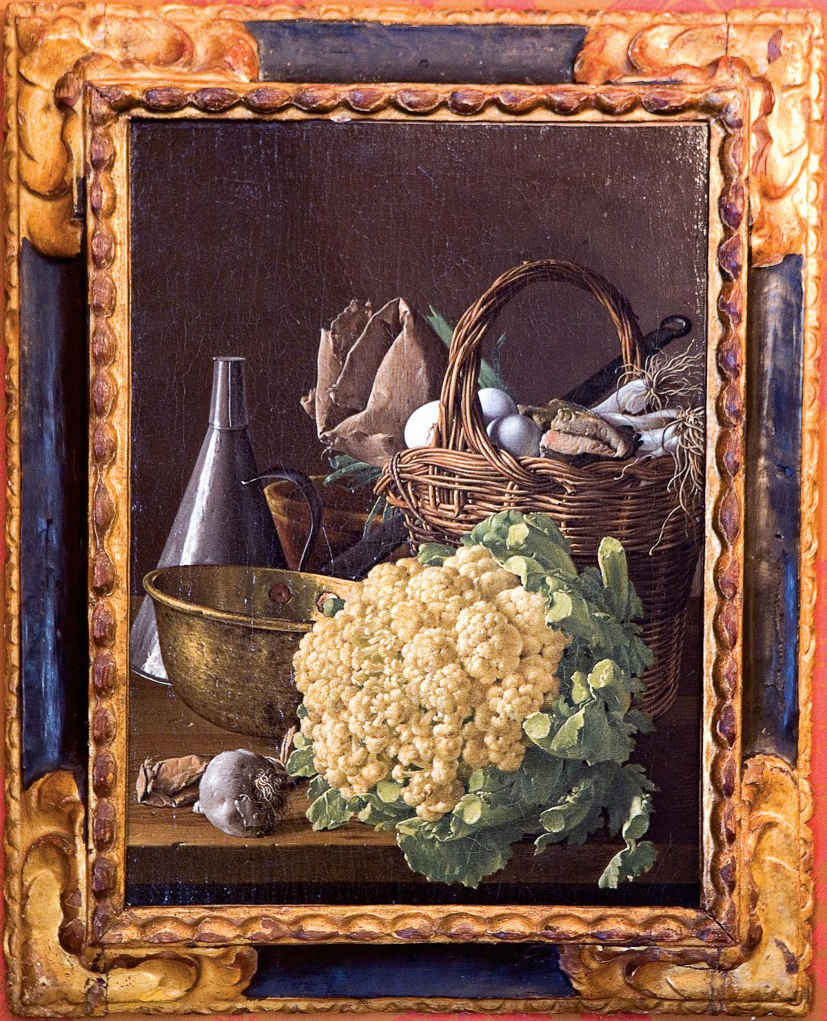 Oil painting still life of a cauliflower