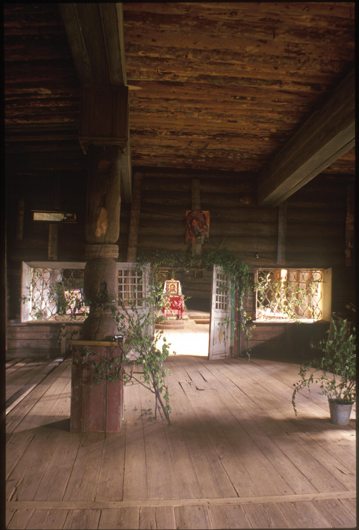 photograph of inside of church, everything made of wood