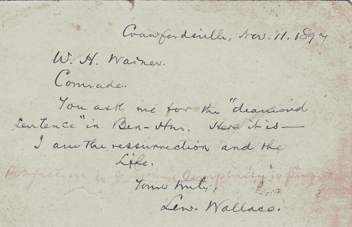 Letter from Wallace, written in dark ink on a yellowing piece of paper, dated 1894