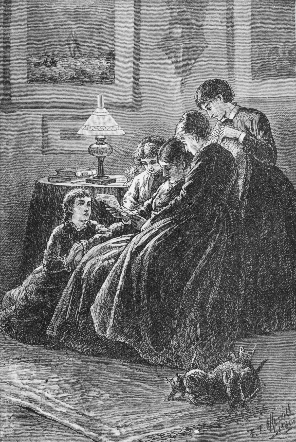 The four girls crowd around Marmee, who is reading a piece of paper and sitting in a chair, in a room lit by a small triangular table lamp