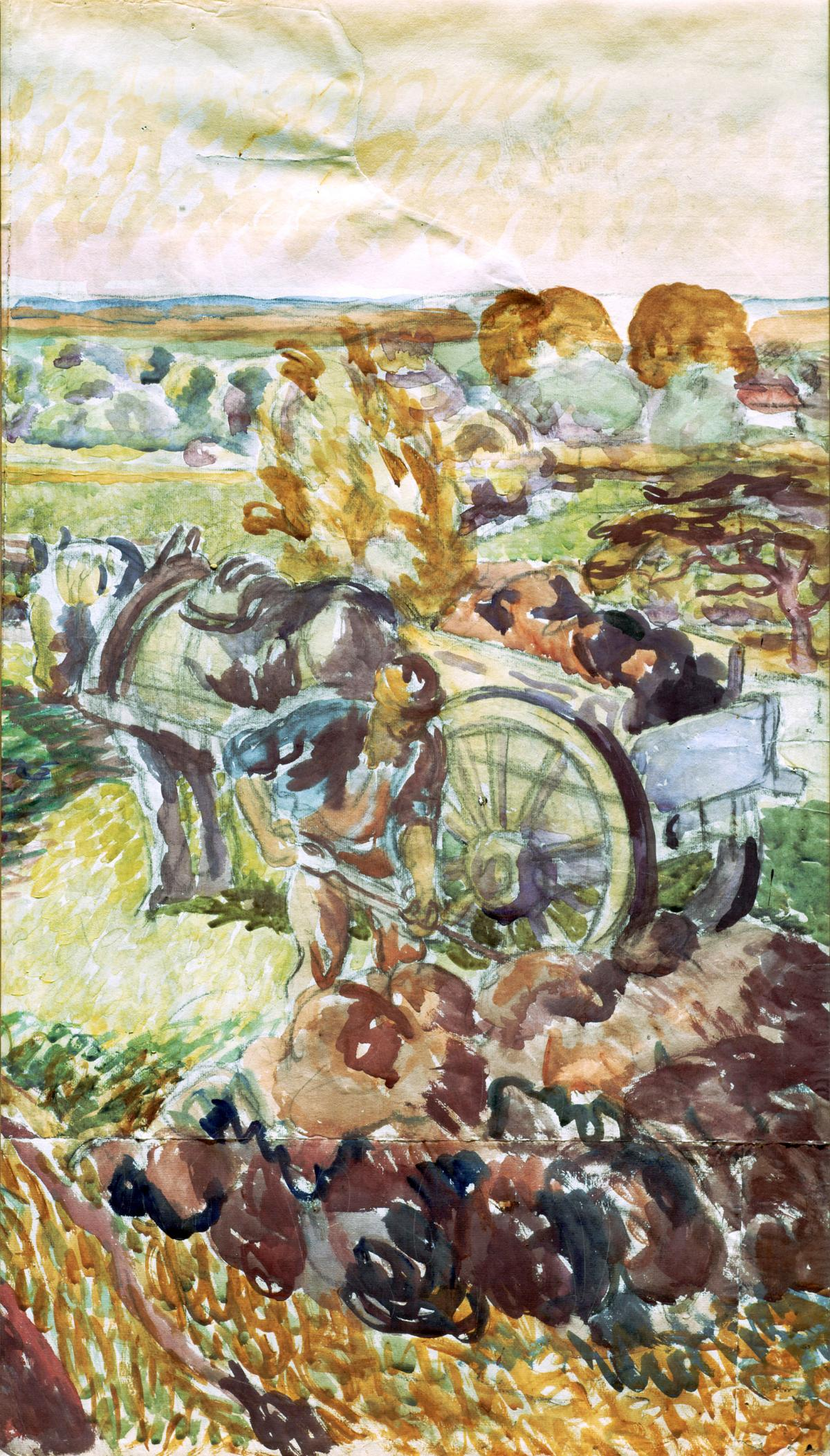 Swirling brushstrokes create a scene of a farmer shoveling soil, with a horse-drawn cart behind him, in the midst of rolling hills and farmland, done in greens and browns