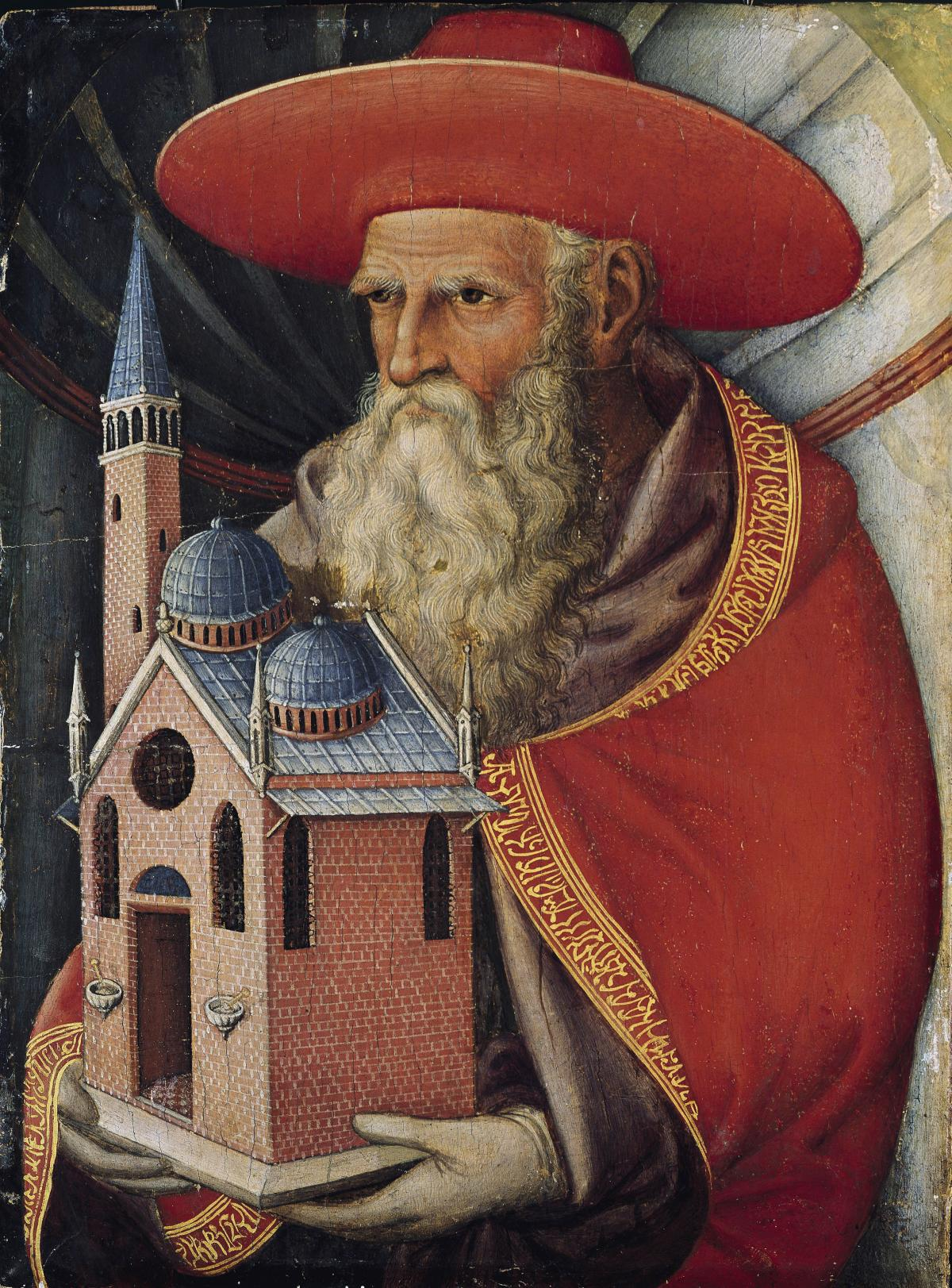 Old bearded man in a red hat and red embroidered robe, holds a miniature model of a red brick and blue church