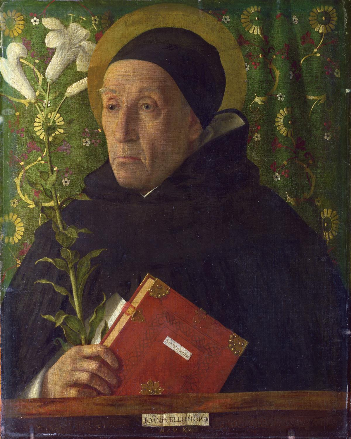 Saint in a black monk's habit and cap, holding a red leather Bible and a long stemmed white flower