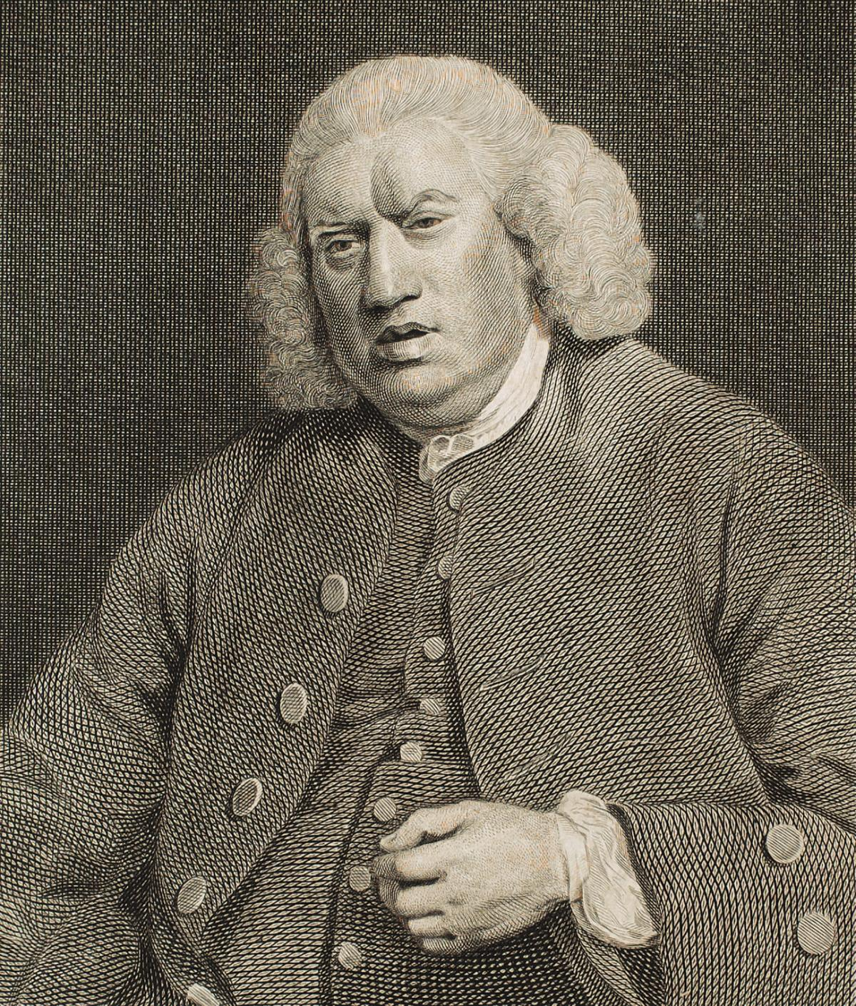 Johnson in a buttoned waistcoat and jacket, left hand held below his chest, mouth slightly open and frowning, not looking at the viewer