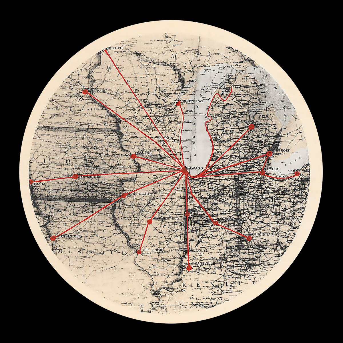 Circular diagram which shows Chicago's reach into the surrounding areas