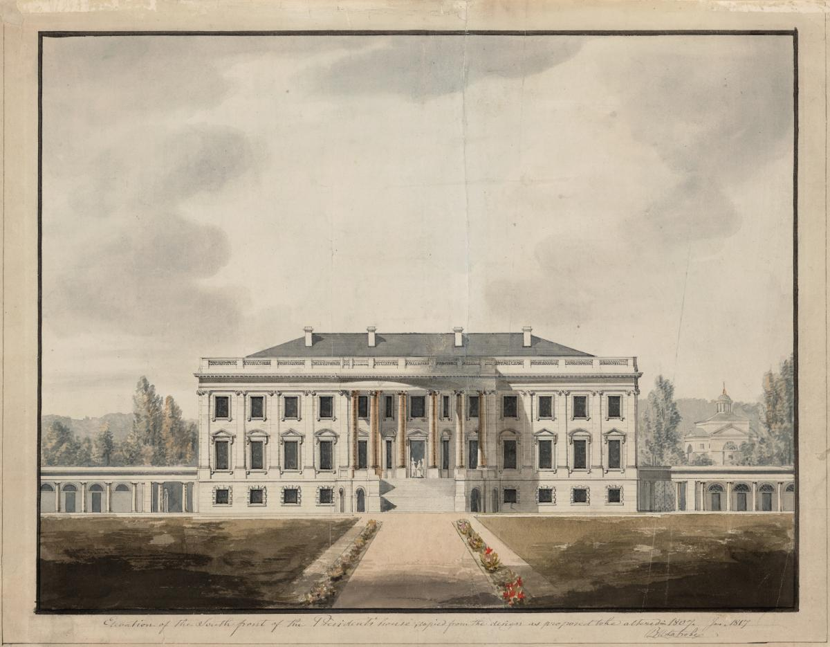 Watercolor illustration of the white house and its front yard