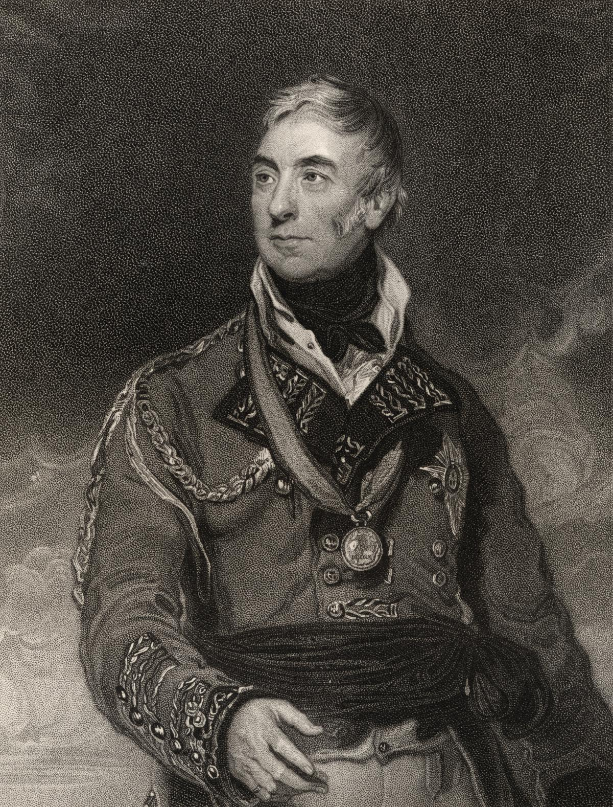 Black and white engraving of the general, wearing a military coat and a medal around his neck, looking off to his right