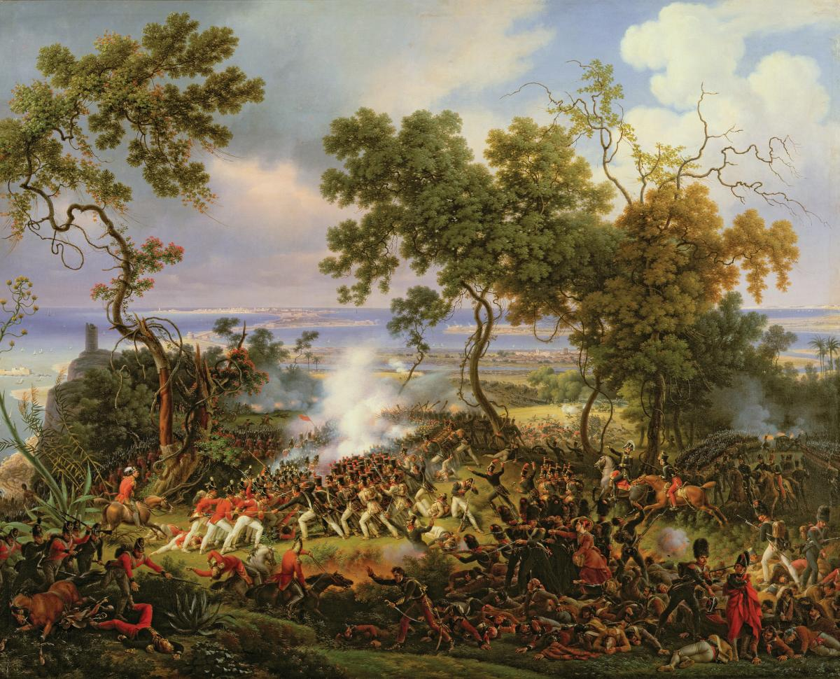 British and French forces battle amongst entwined trees, with the coast in the background