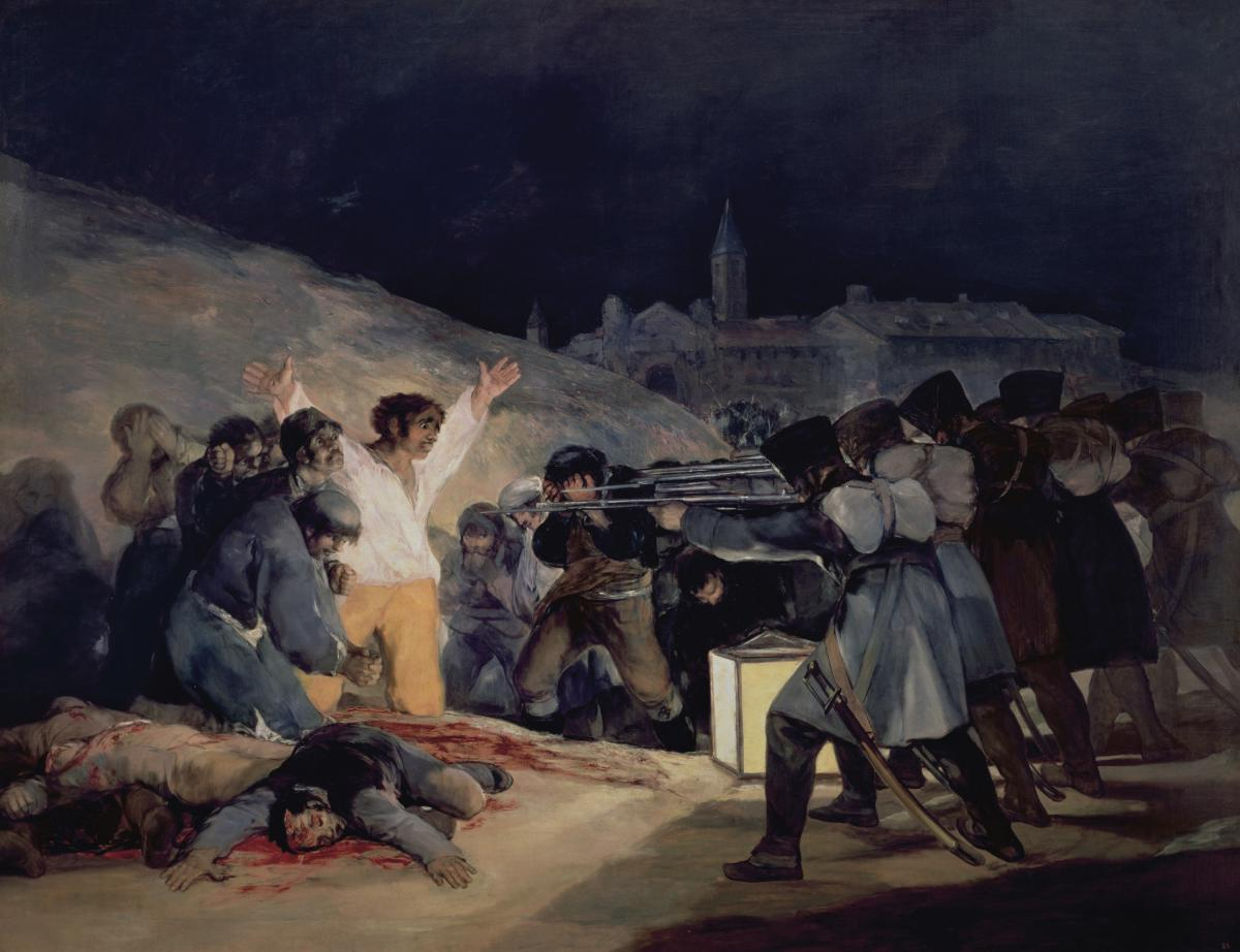 Execution of Spanish soldiers, focused on a man in white, holding his hands up as he looks at the bayonets of the French