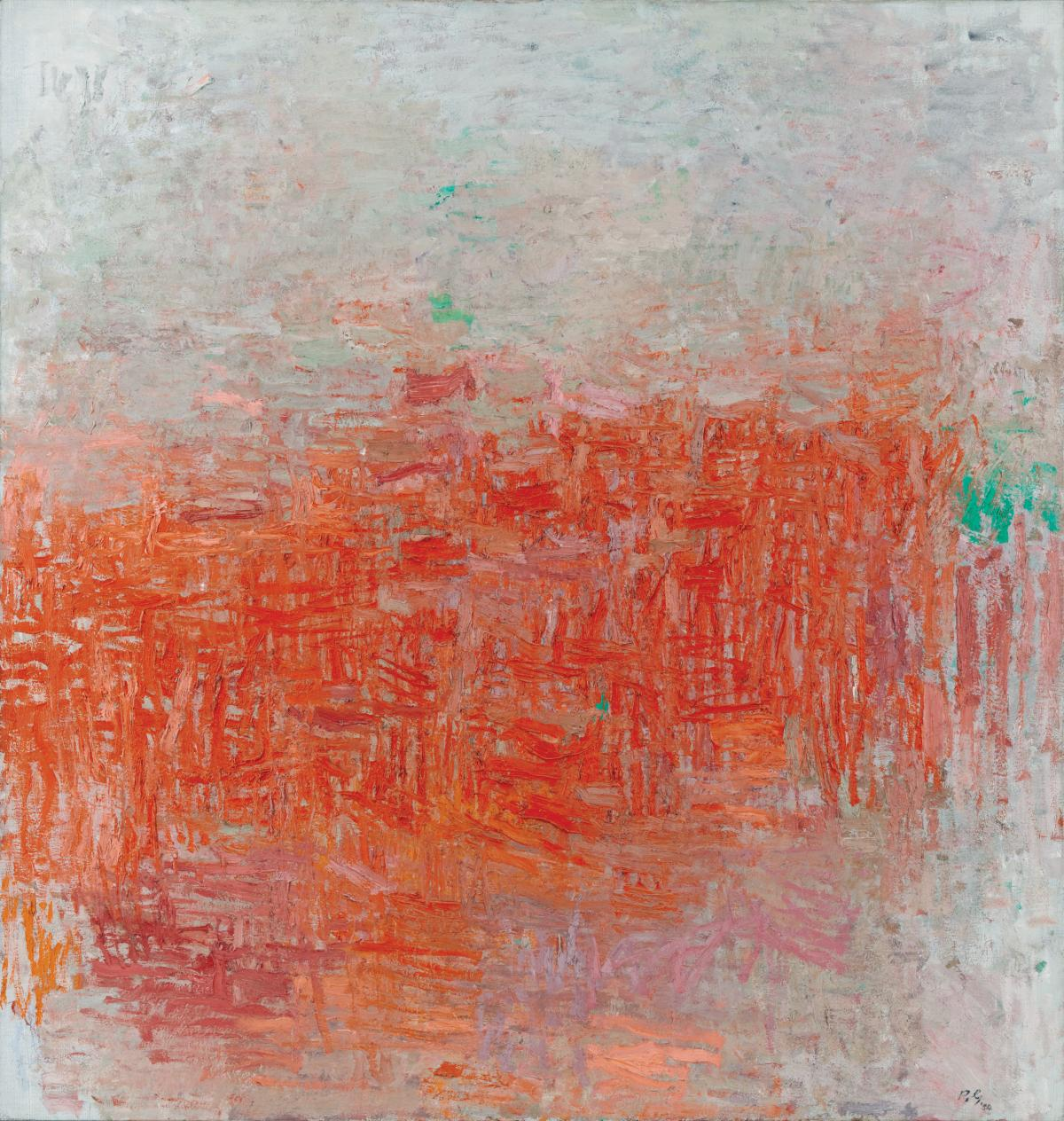 Abstract oil painting with red and orange