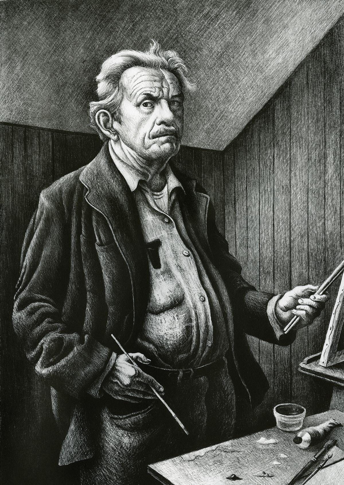 black and white painting of an older man at an easel