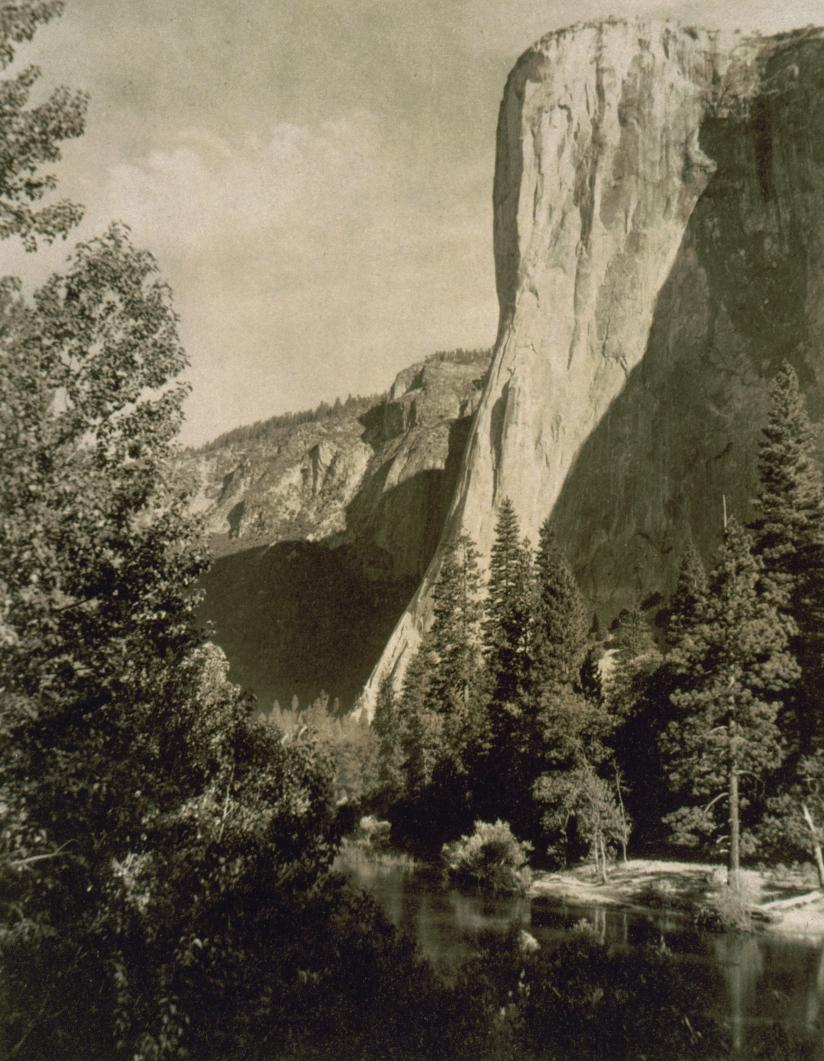 Sepia photograph of El Capitan, one of Yosemite Valley's largest and tallest rock formations