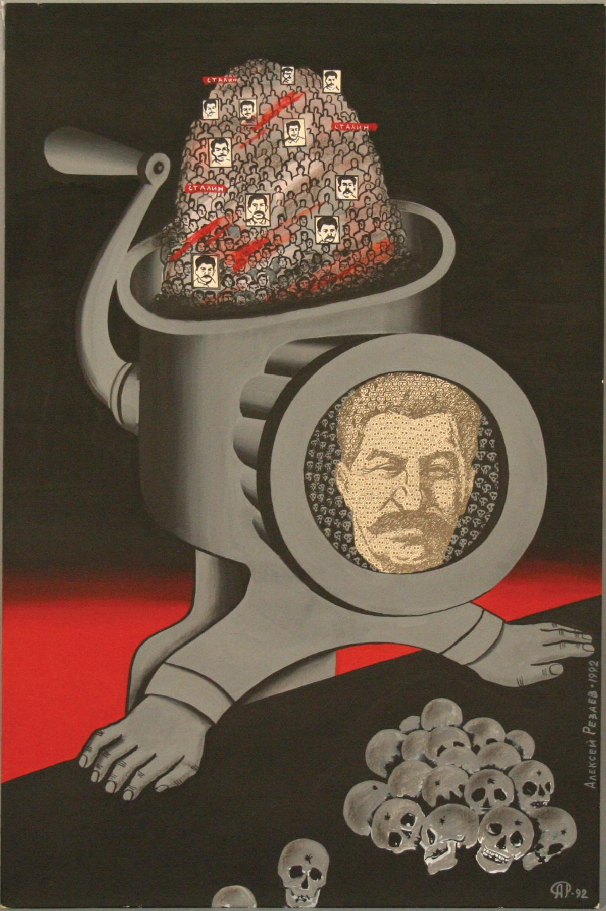 Political cartoon of Stalin as a meat grinder, which is grinding up the images of those who cross him